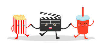 Movie clapper and cola and popcorn on white background, Illustration watching a movie, cinema, movies, food funny Vector Illustrat. Ion cartoon Stock Photos