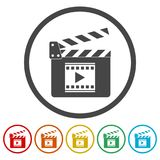 Movie Clapper, Film Flap, 6 Colors Included. Simple vector icons set Stock Photos