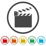 Movie Clapper, Film Flap, 6 Colors Included. Simple vector icons set Royalty Free Stock Image