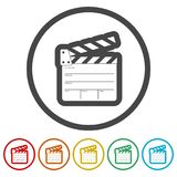 Movie Clapper, Film Flap, 6 Colors Included. Simple  icons set Royalty Free Stock Photos
