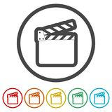Movie Clapper, Film Flap, 6 Colors Included. Simple vector icons set Royalty Free Stock Photography