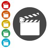 Movie Clapper, Film Flap. Simple vector icons set Stock Images