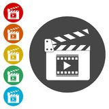 Movie Clapper, Film Flap. Simple vector icons set Stock Photos