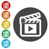 Movie Clapper, Film Flap. Simple vector icons set Stock Photo