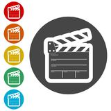 Movie Clapper, Film Flap. Simple vector icons set Stock Image