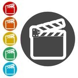 Movie Clapper, Film Flap. Simple vector icons set Royalty Free Stock Photo