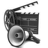Movie clapper and film strip. And megaphone on a white background Stock Photos