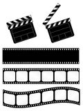 Movie clapper with film strips. Open and closed movie clapper + 3 film strips Stock Photos