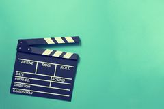Movie clapper on green background royalty free stock images