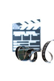Movie clapper and 35 mm filmstrip isolated Royalty Free Stock Photo