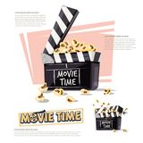 Movie clapper with popcorn. movie time concept - vector illustra. Tion Royalty Free Stock Image