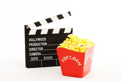 Movie clapper and popkorn Stock Photography