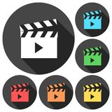Movie clapper sign icons set with long shadow. Vector icon Royalty Free Stock Image