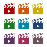 Movie clapper sign icons set. Vector icon Stock Images