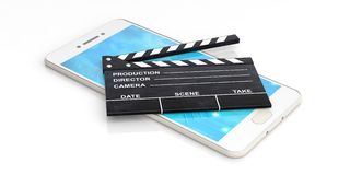 Movie clapper on a smartphone - white background. 3d illustration Royalty Free Stock Photo