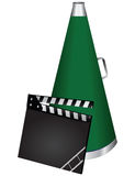 Movie clapper and speaker. Movie clapper and a speaker for voice amplification. Movie industry. Vector illustration Stock Photo