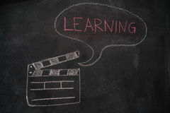 Movie clapper with speech bubble on chalkboard Royalty Free Stock Photos