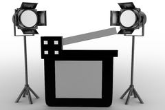 Movie clapper And Studio Light Royalty Free Stock Images