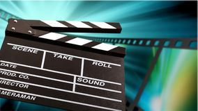 Movie clapper template on blurred background. Movie clap clapper take action entertainment blue background Royalty Free Stock Photo