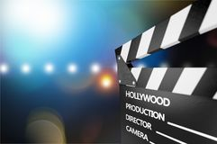 Movie clapper template on blurred background. Movie clap clapper take action entertainment blue background Stock Photos