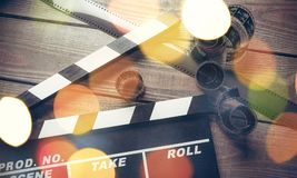 Movie clapper template on wooden backround. Movie clap clapper take action entertainment blue background Royalty Free Stock Photos