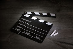 Movie clapper on vintage boards Royalty Free Stock Photography