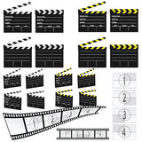 Movie clapper white and yellow and film Royalty Free Stock Photography