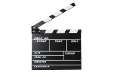 Movie clapperboard. Clapperboard isolated on a white background closed Royalty Free Stock Photo