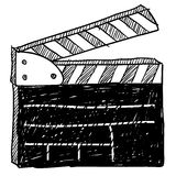Movie clapperboard sketch. Doodle style movie set clapperboard vector illustration Stock Photo