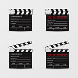 Movie clapperboard vector set Royalty Free Stock Photo