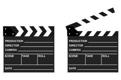 Movie clappers open and close isolated on white background. Shown slate board.Realistic movie clapperboard. Clapper board isolated with clipping path included Stock Photo