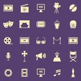Movie color icons on purple background Royalty Free Stock Image