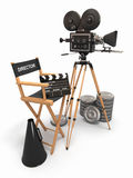 Movie composition. Vintage camera, director chair and reels. 3d Stock Images