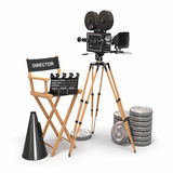 Movie composition. Vintage camera, director chair. Movie composition. Vintage camera, director chair and reels. 3d Stock Photography