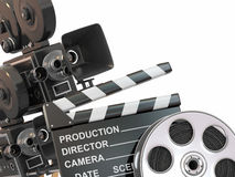Movie composition. Vintage camera, reel. And clapperboard. 3d Royalty Free Stock Image