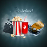 Movie concept. Popcorn box disposable cup for beverages with straw, film strip, ticket and clapper board. Detailed vector illustration. EPS10 file Stock Photos