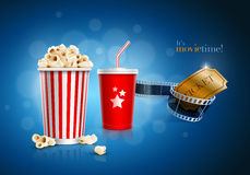 Movie concept. Popcorn box, disposable scup for beverages with straw, film strip and ticket. Detailed vector illustration. EPS10 file Royalty Free Stock Images