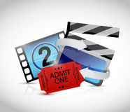 Movie concept and ticket illustration design. Over white Stock Photography