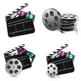 Movie Concepts - Set of 3D illustrations. Movie Concepts. Set of Clapboard with Anaglyph Glasses and Film Reel on white background royalty free stock photo