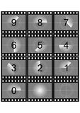 Movie countdown. Simulation of a film strip countdown in black and white Royalty Free Stock Images