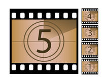 Movie countdown. Negatives. Isolated and seperated for ease of use Royalty Free Stock Image