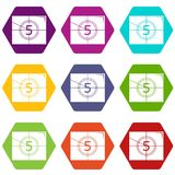 Movie countdown number icons set 9 vector. Movie countdown number icons 9 set coloful isolated on white for web Royalty Free Stock Photography