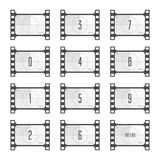 Movie countdown numbers. Movie countdown numbers isolated on white background. Screen Countdown to the start of old retro film. Timer counting vintage cinema Stock Photography