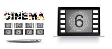 Movie countdown numbers on the laptop royalty free illustration