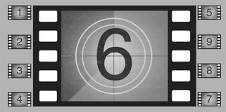 Movie countdown numbers vector set. The countdown to the start of the old film. Movie countdown numbers vector set Royalty Free Stock Photos