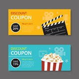 Movie coupon flat design Stock Images