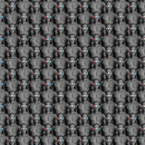 Movie crowd 3D. 3D render of male figures wearing 3D glasses Stock Photo