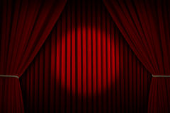 Movie Curtains Spotlight Stock Image