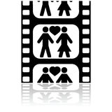 Movie date. Icon illustration showing a couple in love inside a film strip Royalty Free Stock Image