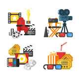 Movie design set of concept with cinema icons. Vector flat style movie design set of concept with cinema icons. Icon for web. Isolated on white background Stock Images